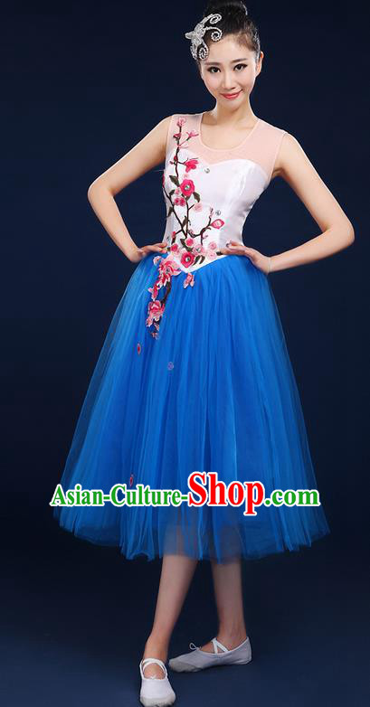 Traditional Chinese Style Modern Dancing Compere Costume, Women Opening Classic Chorus Singing Group Dance Embroider Plum Blossom Uniforms, Modern Dance Classic Dance Blue Dress for Women