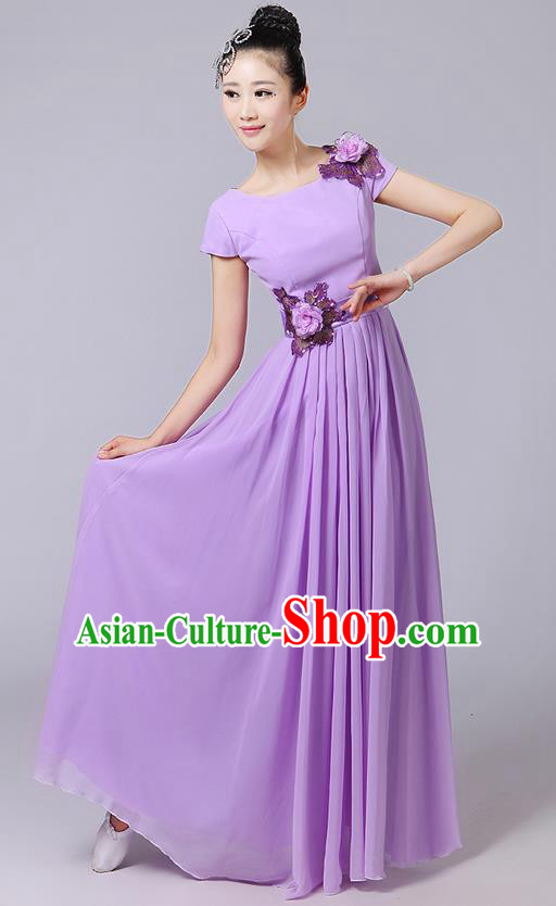 Traditional Chinese Modern Dancing Compere Costume, Women Opening Classic Chorus Singing Group Dance Uniforms, Modern Dance Classic Dance Big Swing Long Purple Full Dress for Women