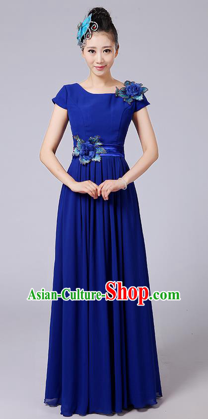 Traditional Chinese Modern Dancing Compere Costume, Women Opening Classic Chorus Singing Group Dance Uniforms, Modern Dance Classic Dance Big Swing Long Blue Full Dress for Women