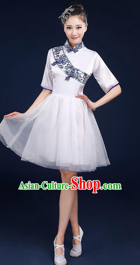 Traditional Chinese Style Modern Dancing Compere Costume, Women Opening Classic Chorus Singing Group Dance Blue and White Porcelain Uniforms, Modern Dance Classic Dance Cheongsam Bubble Dress for Women
