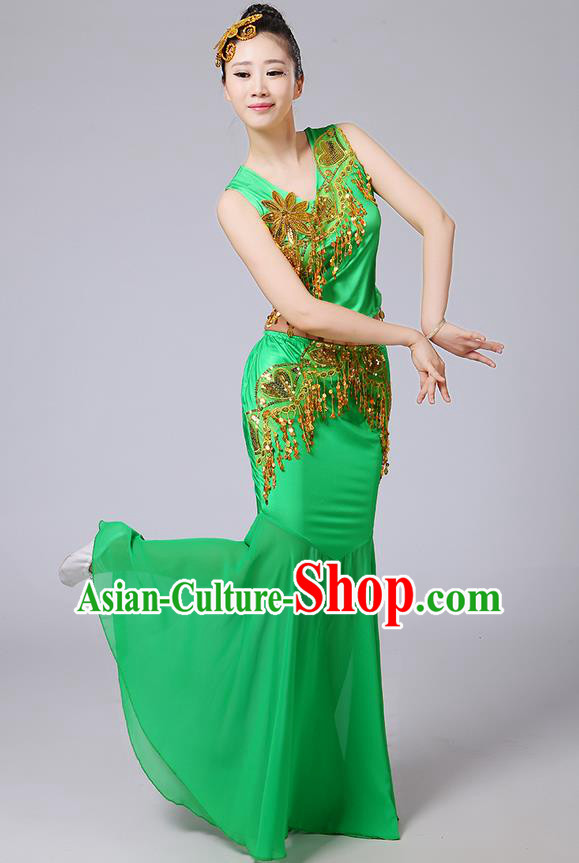Traditional Chinese Dai Nationality Peacock Dancing Costume, Folk Dance Ethnic Paillette Tassel Fishtail Dress Palace Princess Uniform, Chinese Minority Nationality Dancing Green Clothing for Women