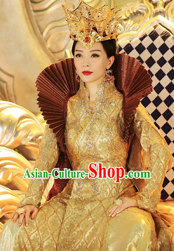 Traditional Ancient Chinese Imperial Empress Costume, Elegant Hanfu Immortal Queen Clothing, Chinese Aristocratic Queen Consort Embroidered Clothing for Women