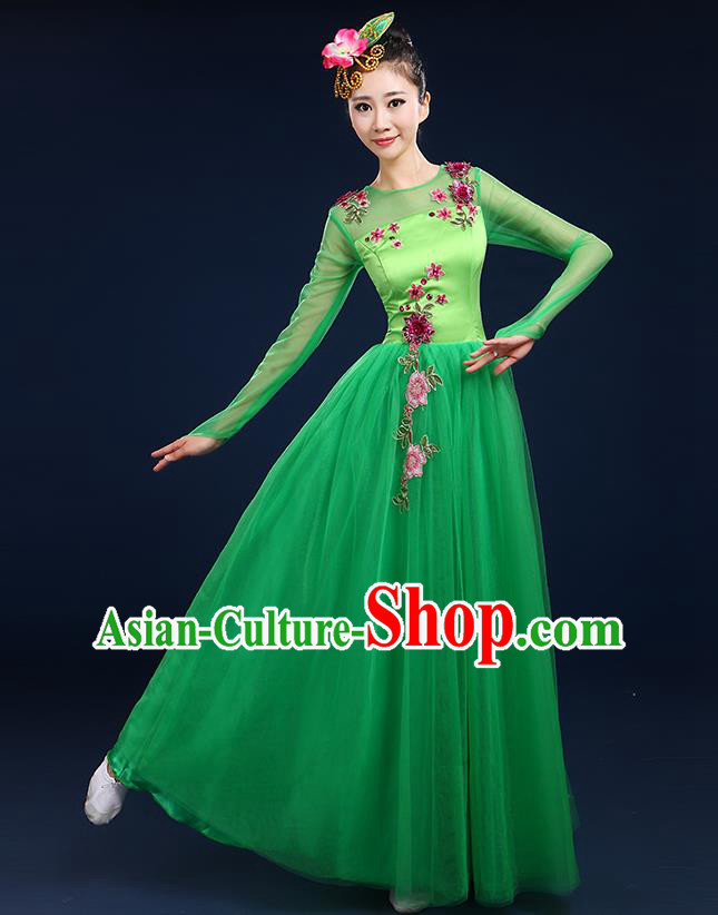 Traditional Chinese Modern Dancing Compere Costume, Women Opening Classic Chorus Singing Group Dance Bubble Uniforms, Modern Dance Classic Dance Big Swing Green Dress for Women
