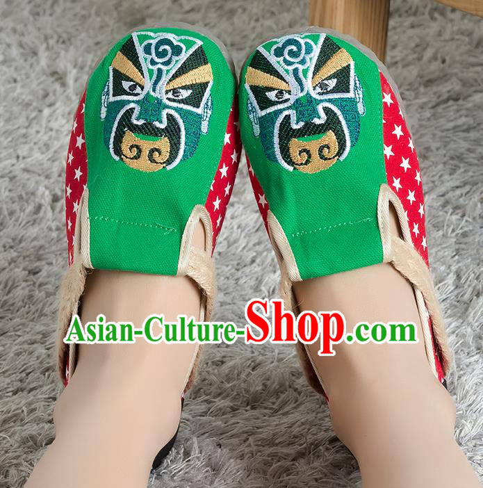 Traditional Chinese Shoes, China Handmade Linen Embroidered Beijing Opera Facial Masks Green Shoes, Ancient Princess Cloth Shoes for Women