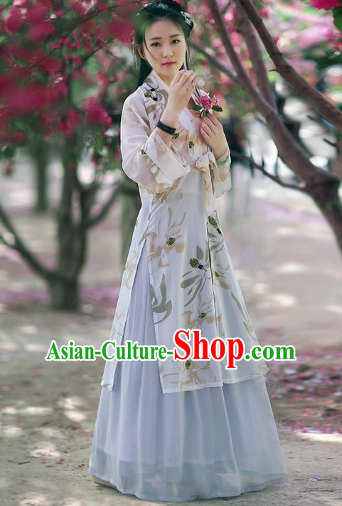 Traditional Ancient Chinese Young Lady Costume BeiZi Cardigan Blouse and Skirt Complete Set , Elegant Hanfu Clothing Chinese Song Dynasty Imperial Princess Clothing for Women