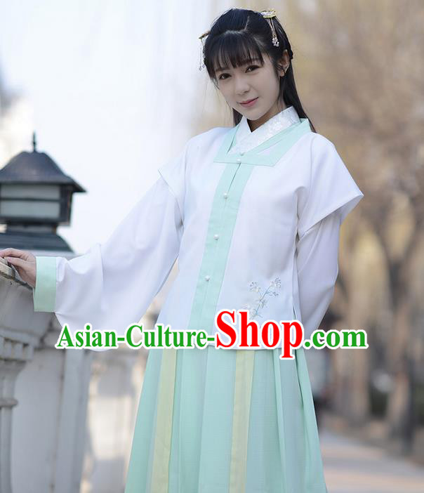 Traditional Ancient Chinese Young Lady Costume Embroidered Sleeveless Over-dress Vest, Elegant Hanfu Vests Clothing Chinese Ming Dynasty Imperial Princess Dress Clothing for Women