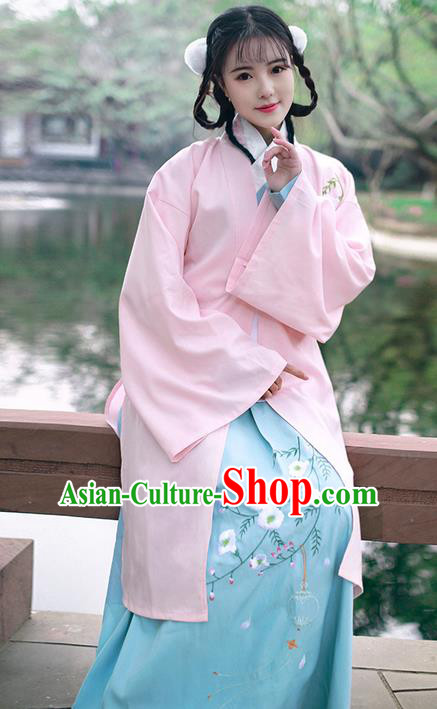 Traditional Ancient Chinese Young Lady Costume Embroidered Pink BeiZi, Elegant Hanfu Cardigan Unlined Garment Dress Chinese Ming Dynasty Imperial Princess Dress Cloak Clothing for Women