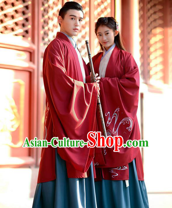 Traditional Chinese Ancient Han Dynasty Embroidered Wide Sleeve Cardigan Clothing for Women and Men