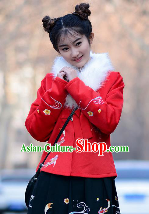 Traditional Ancient Chinese Young Lady Elegant Costume Embroidered Red Front Opening Blouse, Elegant Hanfu Clothing Chinese Ming Dynasty Imperial Princess Clothing for Women