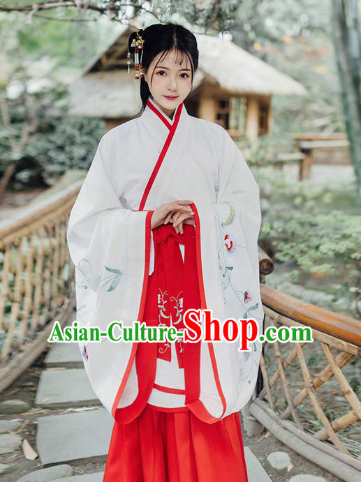 Traditional Ancient Chinese Young Lady Costume Embroidered Song Fringing and Belt, Elegant Hanfu Curving-Front Unlined Garment Dress Chinese Han Dynasty Imperial Princess Dress Clothing for Women
