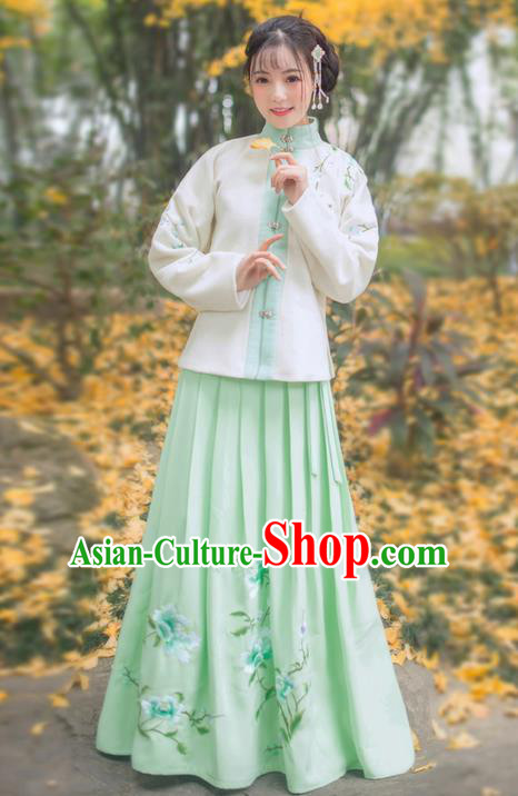 Traditional Ancient Chinese Young Lady Elegant Costume Embroidered Front Opening Blouse and Green Slip Skirt Complete Set, Elegant Hanfu Clothing Chinese Ming Dynasty Imperial Princess Clothing for Women