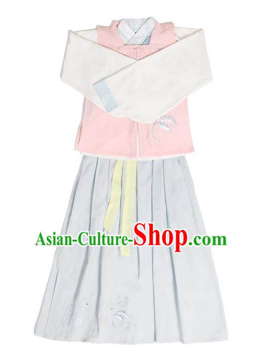 Traditional Ancient Chinese Young Lady Elegant Costume Embroidered Sleeveless Over-dress Slant Opening Blouse and Blue Slip Skirt Complete Set, Elegant Hanfu Clothing Chinese Ming Dynasty Imperial Princess Clothing for Women