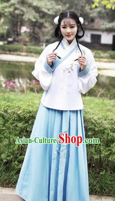 Traditional Ancient Chinese Young Lady Elegant Costume Embroidered Slant Opening Blouse and Slip Skirt Complete Set, Elegant Hanfu Clothing Chinese Ming Dynasty Imperial Princess Clothing for Women