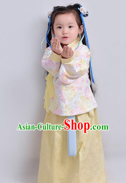 Traditional Ancient Chinese Children Elegant Costume Embroidered Slant Opening Blouse and Slip Skirt Complete Set, Elegant Hanfu Clothing Chinese Ming Dynasty Imperial Princess Clothing for Kids