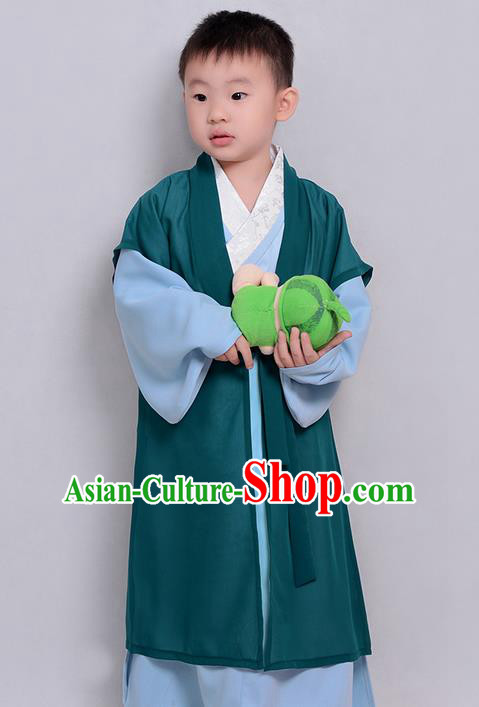 Traditional Ancient Chinese Children Elegant Costume Cardigan and Robe Complete Set, Elegant Hanfu Clothing Chinese Ming Dynasty Scholar Clothing for Kids