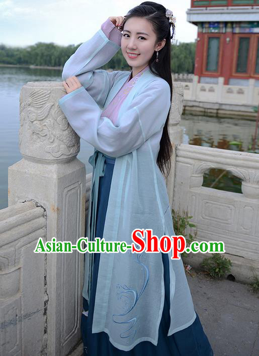 Traditional Ancient Chinese Young Lady Elegant Costume Embroidered Cardigan Slant Opening Blouse and Slip Skirt Complete Set, Elegant Hanfu Clothing Chinese Jin Dynasty Imperial Princess Clothing for Women