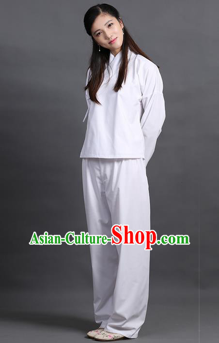 Traditional Ancient Chinese Young Lady Elegant Costume Slant Opening Blouse and Pants Complete Set, Elegant Hanfu Pajamas Clothing Chinese Han Dynasty Imperial Princess Clothing for Women