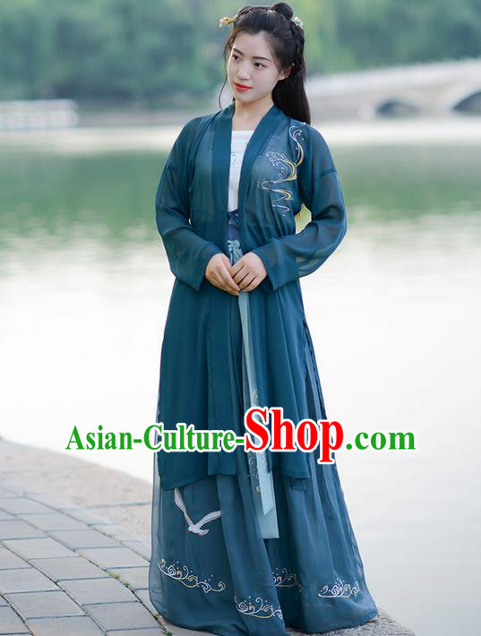 Traditional Ancient Chinese Young Lady Elegant Costume Embroidered Wide Sleeve Deep Green Cardigan, Elegant Hanfu Clothing Chinese Song Dynasty Imperial Princess Clothing for Women