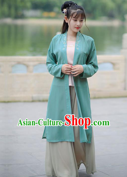 Traditional Ancient Chinese Young Lady Elegant Costume Embroidered Wide Sleeve Green Cardigan, Elegant Hanfu Clothing Chinese Song Dynasty Imperial Princess Clothing for Women