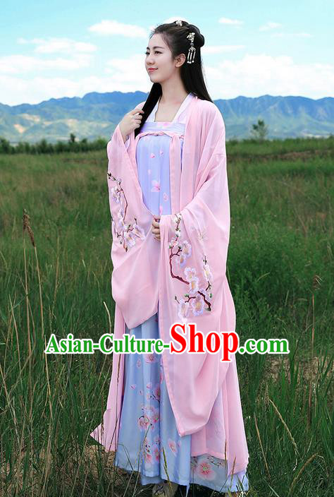 Traditional Ancient Chinese Young Lady Elegant Costume Embroidered Peach Blossom Wide Sleeve Cardigan Slant Opening Blouse and Slip Skirt Complete Set, Elegant Hanfu Clothing Chinese Song Dynasty Imperial Princess Clothing for Women