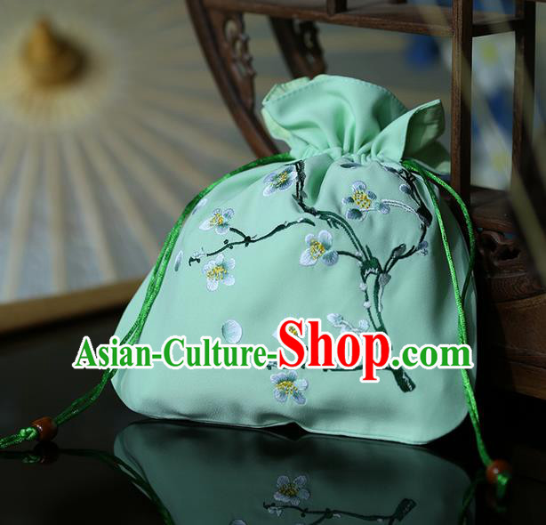 Traditional Ancient Chinese Young Lady Elegant Embroidered Wintersweet Green Handbags Cloth Bags for Women