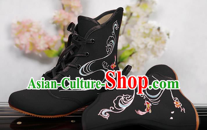 Traditional Chinese Ancient Shoes, China Handmade Embroidered Black Shoes, Princess Boots for Women