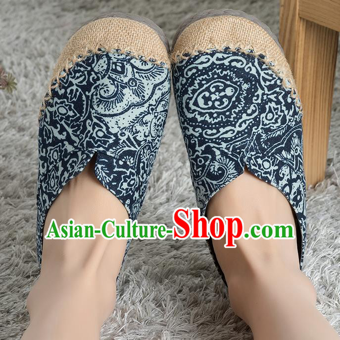 Traditional Chinese Shoes, China Handmade Linen Embroidered Navy Shoes, Ancient Princess Cloth Shoes for Women