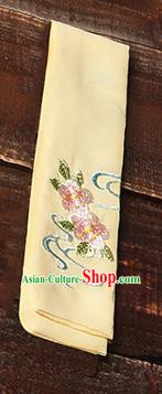 Traditional Ancient Chinese Young Lady Elegant Embroidered Peach Blossom Yellow Snood Hairlace Bandeau for Women
