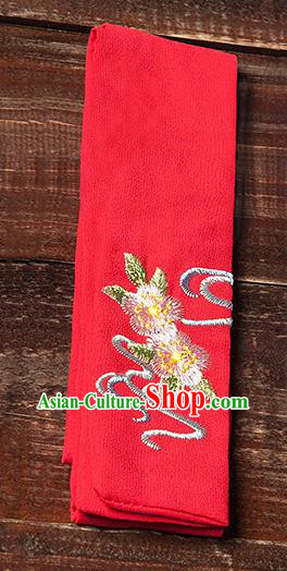 Traditional Ancient Chinese Young Lady Elegant Embroidered Peach Blossom Red Snood Hairlace Bandeau for Women