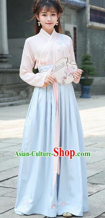 Traditional Ancient Chinese Costume, Elegant Hanfu Clothing Embroidered Slant Opening Pink Blouse and Slip Dress Complete Set, China Han Dynasty Princess Elegant Clothing for Women