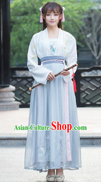 Traditional Ancient Chinese Young Lady Costume Embroidered Blouse and Slip Skirt Complete Set, Elegant Hanfu Suits Clothing Chinese Ming Dynasty Imperial Princess Dress Clothing for Women