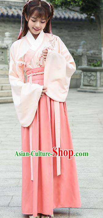 Traditional Ancient Chinese Young Lady Costume Embroidered Sleeve Placket Blouse and Slip Skirt Complete Set, Elegant Hanfu Suits Clothing Chinese Ming Dynasty Imperial Princess Dress Clothing for Women