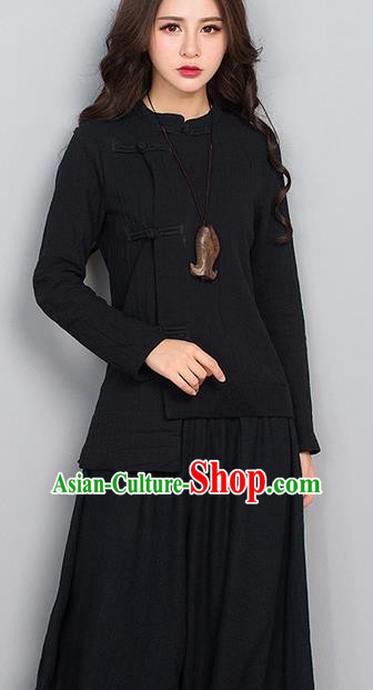 Traditional Chinese National Costume, Elegant Hanfu Linen Slant Opening Black T-Shirt, China Tang Suit Republic of China Plated Buttons Chirpaur Blouse Cheong-sam Upper Outer Garment Qipao Shirts Clothing for Women