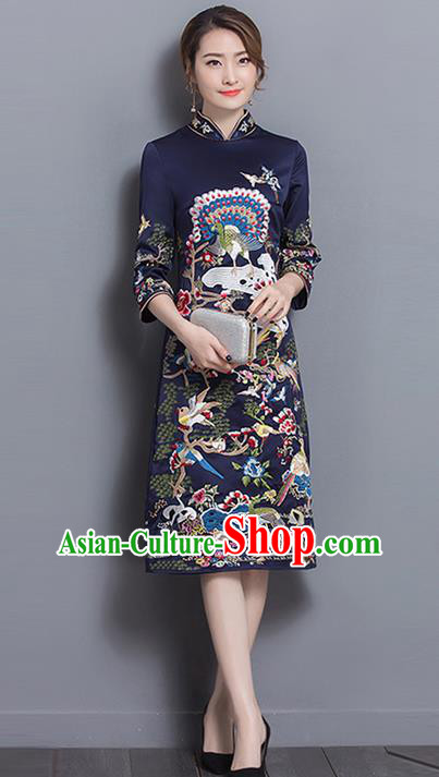 Traditional Ancient Chinese National Costume, Elegant Hanfu Mandarin Qipao Linen Printing Navy Dress, China Tang Suit Chirpaur Republic of China Cheongsam Upper Outer Garment Elegant Dress Clothing for Women