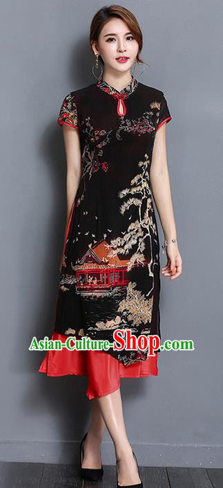 Traditional Ancient Chinese National Costume, Elegant Hanfu Mandarin Qipao Printing Black Dress, China Tang Suit Chirpaur Republic of China Cheongsam Upper Outer Garment Elegant Dress Clothing for Women