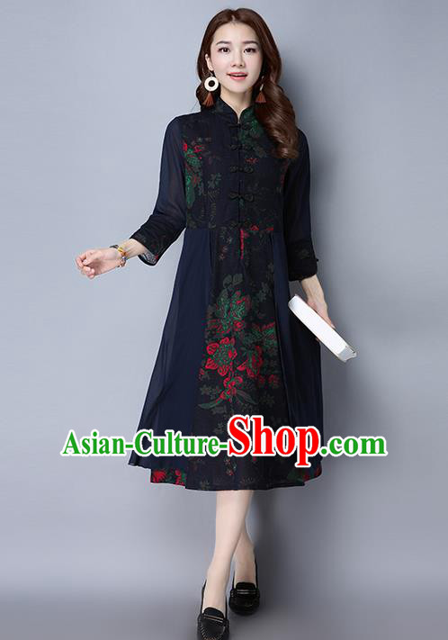 Traditional Chinese National Costume, Elegant Hanfu Linen Plated Buttons Navy Cheongsam Dress, China Tang Suit Cheongsam Upper Outer Garment Elegant Dress Clothing for Women