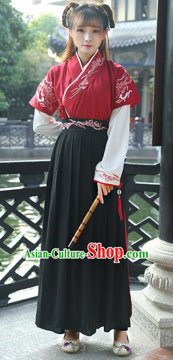 Traditional Ancient Chinese Young Lady Costume Printing Slant Opening Embroidered Blouse Half-Sleeves and Slip Skirt Complete Set, Elegant Hanfu Suits Clothing Chinese Ming Dynasty Imperial Princess Dress Clothing for Women