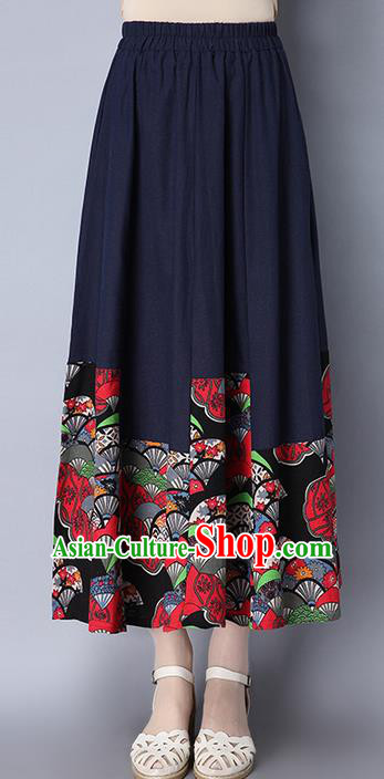 Traditional Ancient Chinese National Pleated Skirt Costume, Elegant Hanfu Folk Dance Long Navy Dress, China Tang Suit Bust Skirt for Women