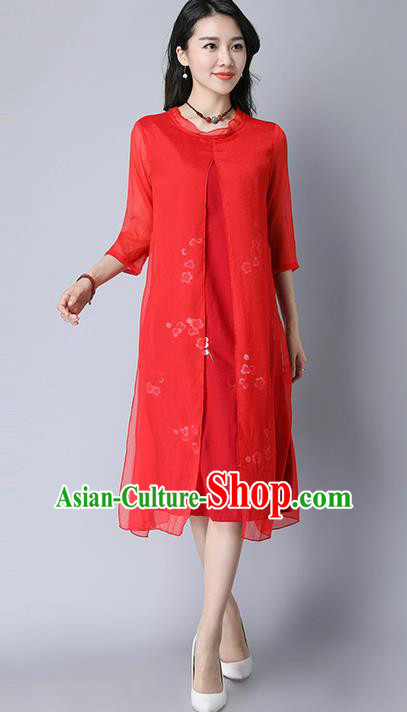 Traditional Ancient Chinese National Costume, Elegant Hanfu Mandarin Qipao Plated Buttons Cheongsam Print Peach Blossom Red Dress, China Tang Suit Upper Outer Garment Elegant Dress Clothing for Women