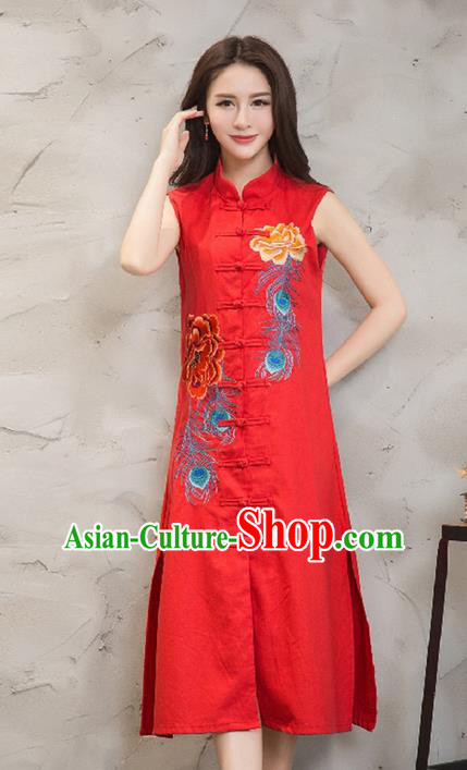 Traditional Ancient Chinese National Costume, Elegant Hanfu Mandarin Qipao Embroidered Front Opening Red Dress, China Tang Suit Plated Buttons Chirpaur Republic of China Cheongsam Upper Outer Garment Elegant Dress Clothing for Women