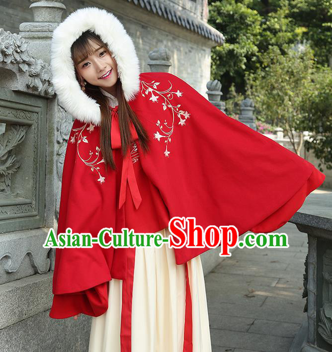 Traditional Chinese Ancient Ming Dynasty Princess Mantle Embroidered Hooded Cape for Women