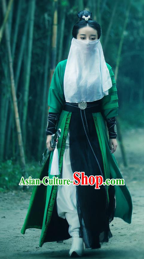 Traditional Ancient Chinese Chivalrous Swordswoman Costume and Mask Veil Complete Set, Chinese Ming Dynasty Chivalrous Woman Dress, Cosplay Chinese Television Drama Flying Daggers Heroine Hanfu Trailing Embroidery Clothing for Women