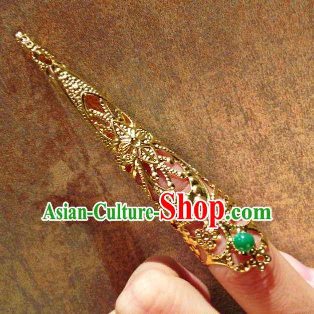Traditional Ancient Chinese Imperial Consort Jewellery Accessories, Chinese Qing Dynasty Manchu Palace Lady Pierced Long Nail Wrap, Chinese Mandarin Imperial Concubine Finger Nails Decoration Accessories for Women