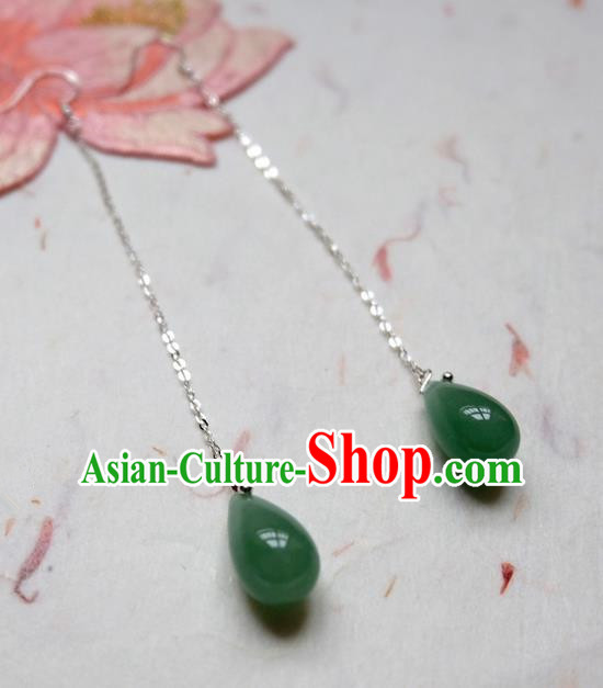 Traditional Handmade Chinese Ancient Classical Accessories, Chinese Eardrop Long Tassel Green Jade Jewellery Earrings Hanfu Earbob for Women