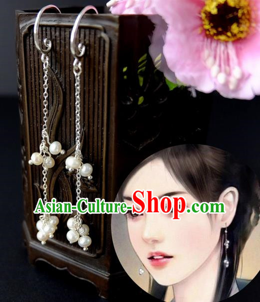 Traditional Handmade Chinese Ancient Classical Accessories, Chinese Eardrop Long Pearl Tassel Jewellery Earrings Hanfu Earbob for Women