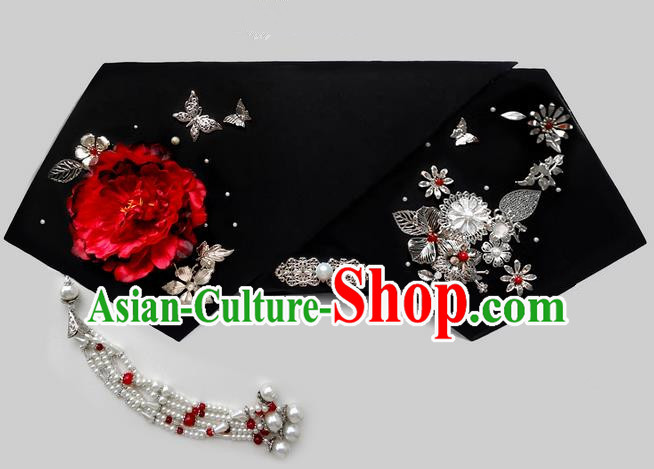 Traditional Ancient Chinese Hair Jewellery Accessories, Chinese Qing Dynasty Manchu Palace Lady Headwear Zhen Huan Big La fin Flowers Tassel Headpiece, Chinese Mandarin Imperial Concubine Flag Head Hat Decoration Accessories for Women