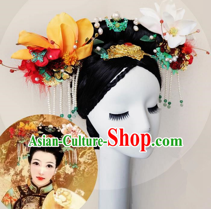 Traditional Ancient Chinese Hair Jewellery Accessories, Chinese Qing Dynasty Manchu Palace Lady Headwear and Wigs Zhen Huan Big La fin Headpiece, Chinese Mandarin Imperial Concubine Flag Head Hat Decoration Accessories for Women
