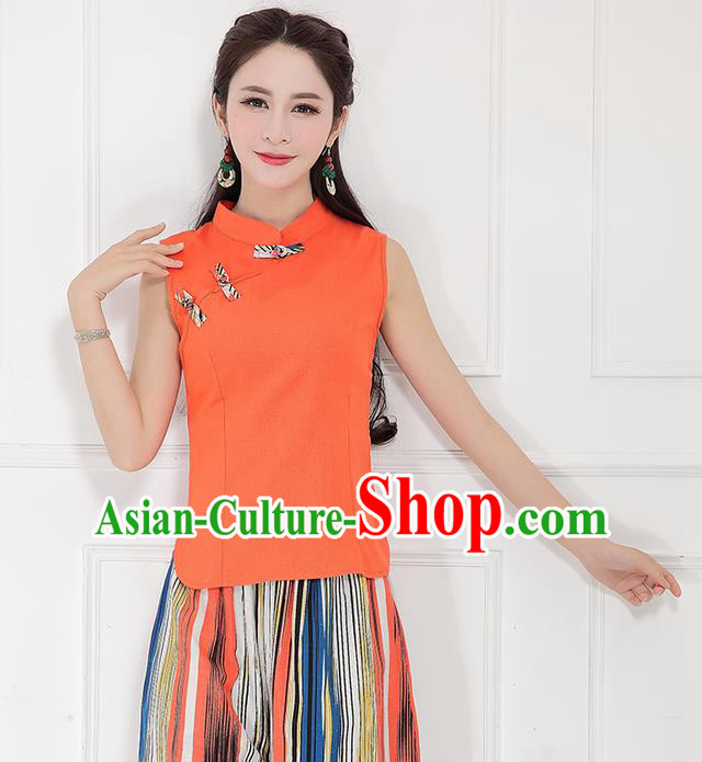 Traditional Chinese National Costume, Elegant Hanfu Linen Slant Opening Orange T-Shirt Vest, China Tang Suit Plated Buttons Sleeveless Shirt Blouse Cheong-sam Upper Outer Garment Qipao Shirts Clothing for Women