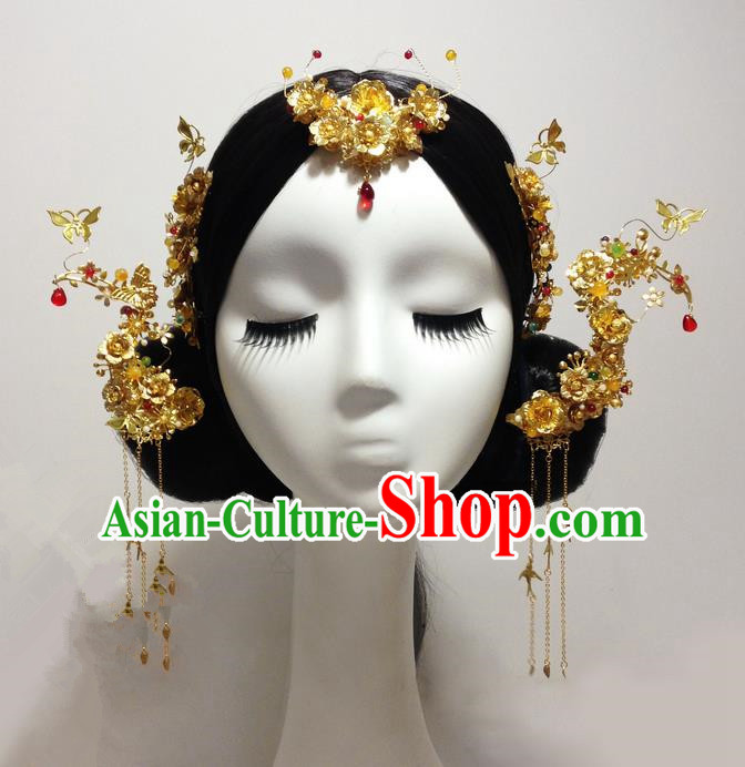 Traditional Handmade Chinese Ancient Classical Hair Accessories Bride Wedding Barrettes Phoenix Coronet Complete Set, Xiuhe Suit Tassel Hair Sticks Hair Jewellery, Hair Fascinators Hairpins for Women