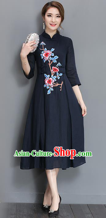 Traditional Chinese National Costume, Elegant Hanfu Mandarin Qipao Printing Peony Navy Plated Buttons Dress, China Tang Suit Stand Collar Cheongsam Upper Outer Garment Elegant Dress Clothing for Women